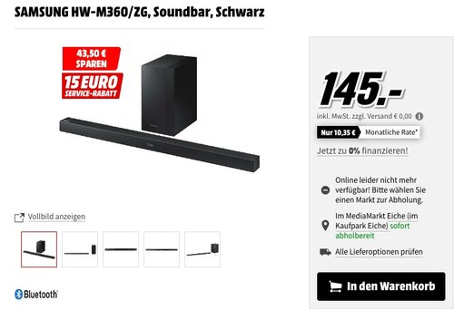SAMSUNG HW-M360/ZG Soundbar schwarz - jetzt 30% billiger