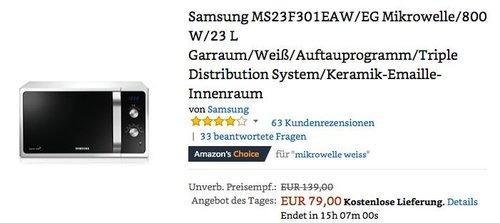 Samsung MS23F301EAW/EG Mikrowelle/800 W/23 L Garraum - jetzt 17% billiger