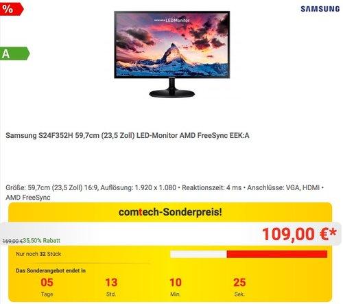 Samsung S24F352H 59,7cm (23,5 Zoll) LED-Monitor AMD FreeSync - jetzt 13% billiger