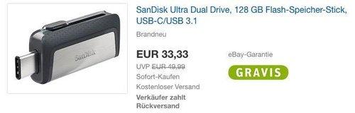 SanDisk Ultra Dual Drive, 128 GB Flash-Speicher-Stick, USB-C/USB 3.1 - jetzt 17% billiger