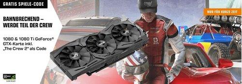 """Saturn Aktion - GeForce GTX 1080 oder GTX 1080 Ti Grafikkarte plus Digital Code für das Spiel """"The Crew 2"""" (PC) gratis dazu - jetzt 10% billiger"""