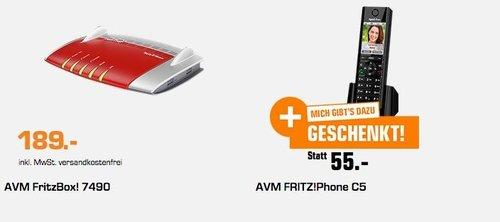Saturn Geschenk-Aktion: AVM FRITZ!Box 7490 VDSL/ADSL-Router + FRITZ!Fon C5 DECT-Komforttelefon für FRITZ Box - jetzt 19% billiger