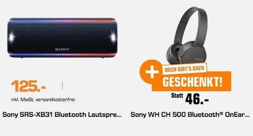 Saturn Geschenk-Aktion: SONY SRS-XB31 Bluetooth Lautsprecher schwarz + Sony WH-CH500 kabelloser Bluetooth Kopfhörer - jetzt 27% billiger