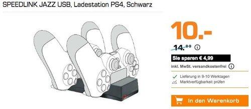 Saturn Sony PS4 Aktion: SPEEDLINK JAZZ USB Ladestation für PS4-Gamepads - jetzt 33% billiger