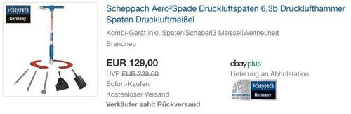 SCHEPPACH Aero2Spade Druckluftspaten inkl. Spaten, Schaber und 3 Meissel - jetzt 23% billiger