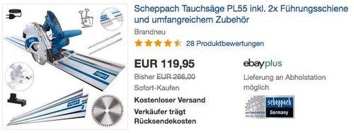 Scheppach Tauchsäge PL55 inkl. 2x Führungsschienen und umfangreichem Zubehör - jetzt 13% billiger