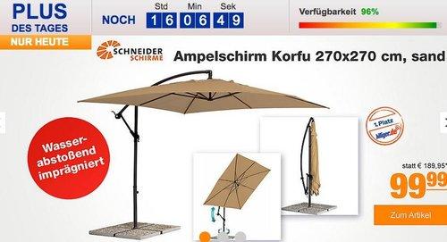Schneider Ampelschirm Korfu 270x270 cm, sand - jetzt 13% billiger