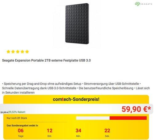 Seagate Expansion Portable 2TB externe Festplatte USB 3.0 - jetzt 13% billiger