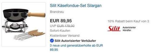 eBay Silit-Aktion: z.B. Silit Käsefondue-Set 9-teilig, Silargan - jetzt 28% billiger