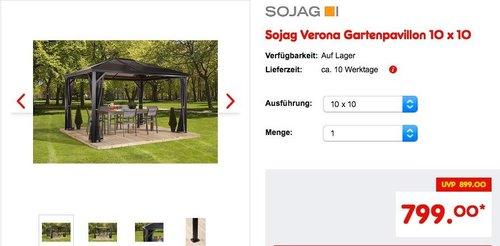 Sojag Verona Gartenpavillon 10 x 10 - jetzt 11% billiger
