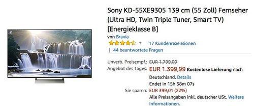 Sony KD-55XE9305 139 cm (55 Zoll) Fernseher (Ultra HD, Twin Triple Tuner, Smart TV) - jetzt 7% billiger