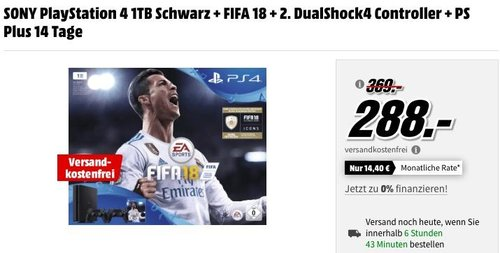 SONY PlayStation 4 1TB Schwarz + FIFA 18 + 2. DualShock4 Controller + PS Plus 14 Tage - jetzt 22% billiger
