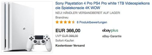 Sony Playstation 4 Pro PS4 Pro Weiß Videospielkonsole - jetzt 14% billiger