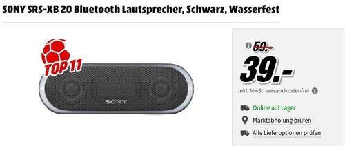 SONY SRS-XB 20 Bluetooth Lautsprecher - jetzt 34% billiger