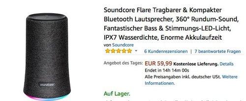 Soundcore Flare Tragbarer & Kompakter Bluetooth Lautsprecher - jetzt 18% billiger