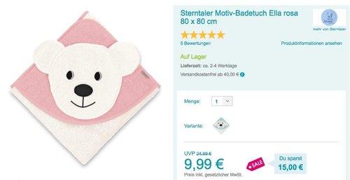 Sterntaler Motiv-Badetuch Ella rosa 80 x 80 cm - jetzt 28% billiger