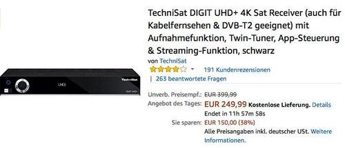 TechniSat DIGIT UHD+ 4K Sat Receiver - jetzt 20% billiger