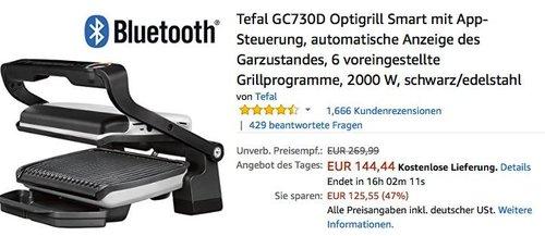 Tefal GC730D Optigrill Smart mit App-Steuerung - jetzt 24% billiger