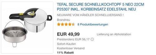 Tefal Secure Schnellkochtopf  5 Neo 22cm P25307 inkl. Korbeinsatz - jetzt 16% billiger