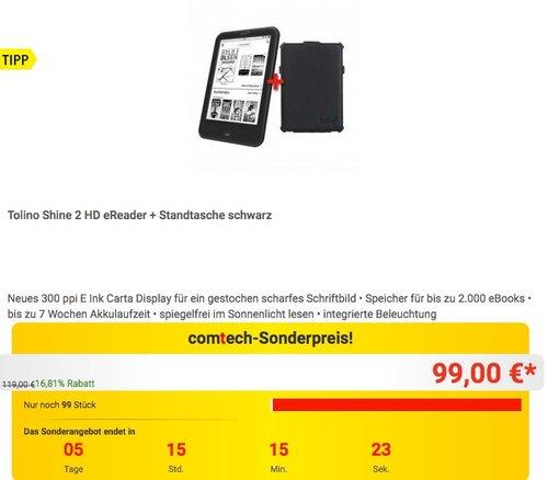 Tolino Shine 2 HD eReader + Standtasche schwarz - jetzt 23% billiger
