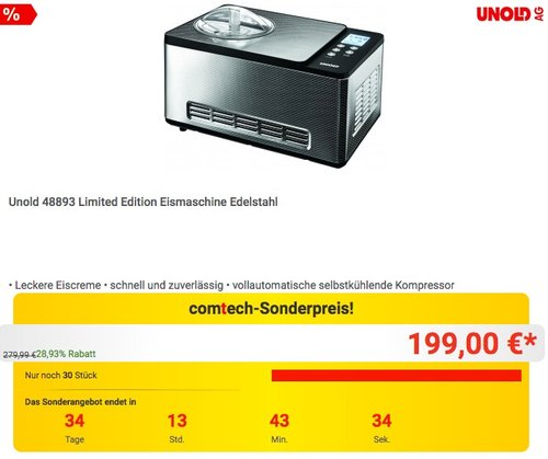 Unold 48893 Limited Edition Eismaschine Edelstahl - jetzt 6% billiger