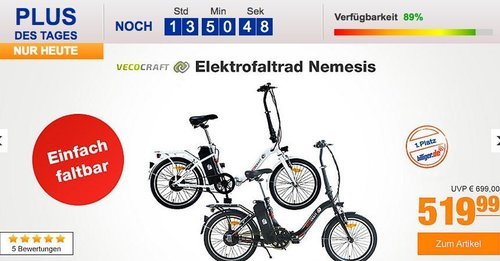 "Vecocraft Nemesis Elektrofaltrad E-Bike 20"" - jetzt 8% billiger"