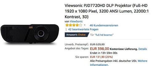 Viewsonic PJD7720HD DLP Projektor (Full-HD 1920 x 1080 Pixel, 3200 ANSI Lumen, 22000:1 Kontrast, 3D) - jetzt 15% billiger