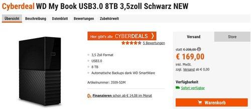 WD My Book USB3.0 8TB - jetzt 7% billiger