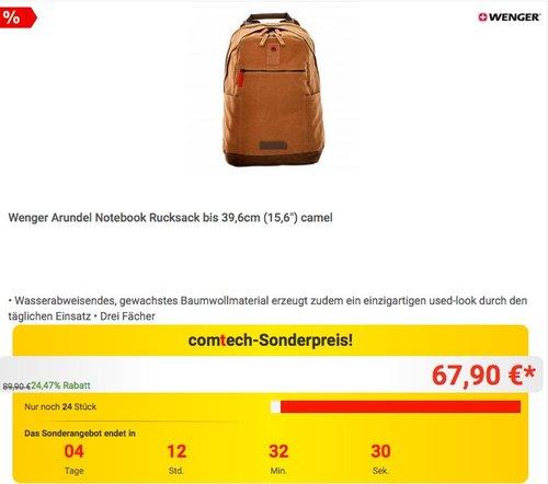 "Wenger Arundel Notebook Rucksack bis 39,6cm (15,6"") camel - jetzt 12% billiger"