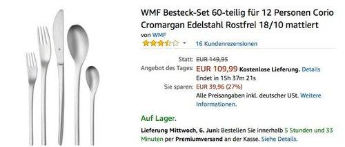 WMF Besteck-Set Corio 60-teilig für 12 Personen - jetzt 21% billiger