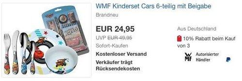 WMF Kinderset Cars 6-teilig mit Beigabe - jetzt 19% billiger