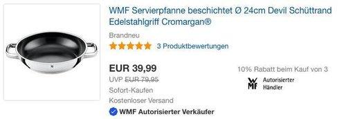 WMF Servierpfanne beschichtet Ø 24cm - jetzt 22% billiger