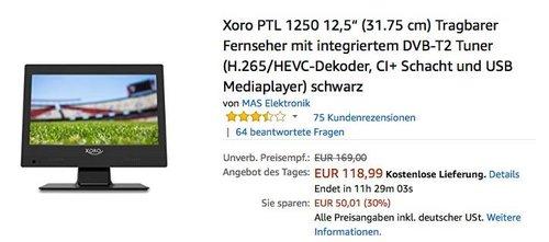 """Xoro PTL 1250 12,5"""" (31.75 cm) Tragbarer Fernseher mit integriertem DVB-T2 Tuner - jetzt 16% billiger"""