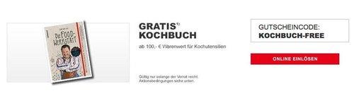 """XXXLutz - Aktion: Gratis Kochbuch """"Die Foodwerkstatt"""" ab 100€ für Kochutensilien - jetzt 11% billiger"""
