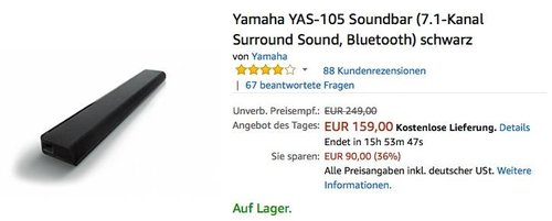 Yamaha YAS-105 Soundbar - jetzt 25% billiger