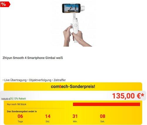 Zhiyun Smooth 4 Smartphone Gimbal weiß - jetzt 20% billiger