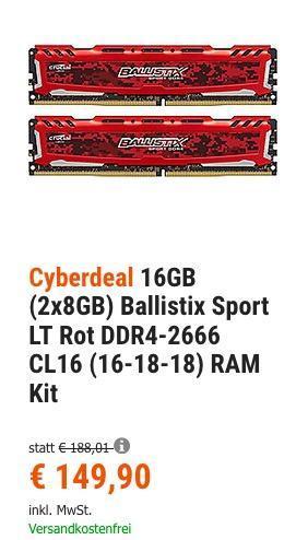 16GB (2x8GB) Ballistix Sport LT Rot DDR4-2666 CL16 (16-18-18) RAM Kit - jetzt 17% billiger