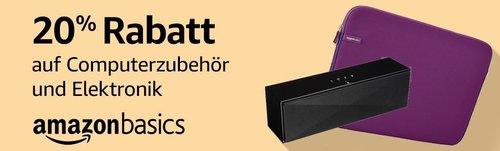 20% Rabatt auf Produkte von AmazonBasics: z.B. AmazonBasics Tragbarer Bluetooth-Lautsprecher, groß - jetzt 20% billiger