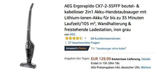 AEG Ergorapido CX7-2-35FFP beutel- & kabelloser 2in1 Akku-Handstaubsauger - jetzt 23% billiger