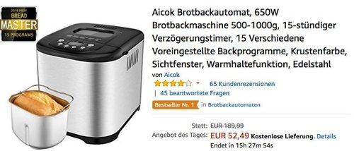 Aicok Brotbackautomat, 650W Brotbackmaschine 500-1000g - jetzt 53% billiger