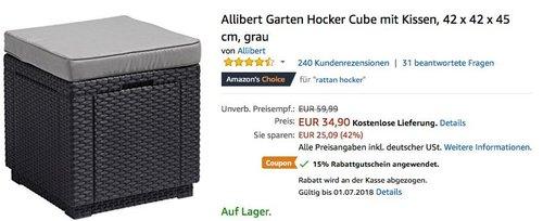 Allibert Garten Hocker Cube mit Kissen - jetzt 15% billiger