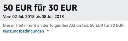 Amazon: Für 50 EUR Filme kaufen - 20 EUR sparen bis 8 Juli 2018 - jetzt 38% billiger