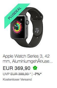 Apple Watch Series 3, 42 mm, Aluminiumgehäuse space grau, Sportarmband grau - jetzt 10% billiger