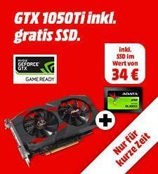 ASUS GeForce® GTX 1050Ti Cerberus Advanced 4GB Grafikkarte inkl. ADATA Ultimate SU650 120 GB SSD Festplatte - jetzt 15% billiger