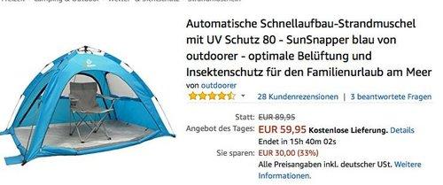 Automatische Schnellaufbau-Strandmuschel mit UV Schutz 80 - SunSnapper - jetzt 24% billiger