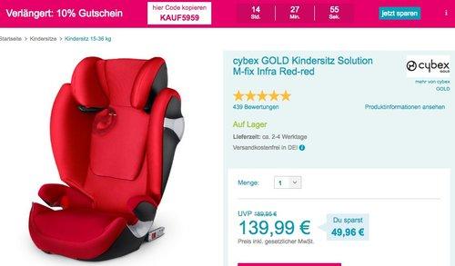 Babymarkt.de - 10% Rabatt auf fast alles am 09.07.18: z.B. cybex GOLD Kindersitz Solution M-fix Infra Red-red - jetzt 10% billiger