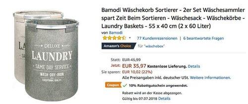 Bamodi Wäschekorb Sortierer - 2er Set - jetzt 10% billiger