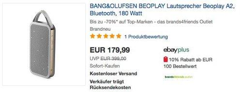 BANG&OLUFSEN BEOPLAY Lautsprecher Beoplay A2 Champagne Grau - jetzt 36% billiger