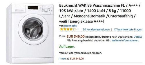 Bauknecht WAK 83 Waschmaschine 8 kg - jetzt 20% billiger