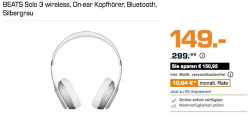 BEATS Solo 3 wireless On-ear Kopfhörer - jetzt 21% billiger